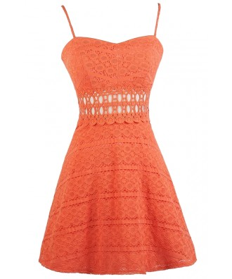 Orange Lace A-line Dress, Cute Orange Dress, Orange Lace Party Dress, Orange Lace Sundress