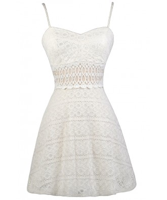Off White Lace A-Line Dress, Cute Off White Lace Dress, Ivory Lace A-Line Dress, Off White Lace Sundress