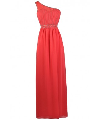 Coral One Shoulder Dress, Coral Prom Dress, Cute Coral Dress, Coral Embellished Dress, Coral maxi Dress, Coral Full Length Dress, Cute Coral Prom Dress, One Shoulder Prom Dress