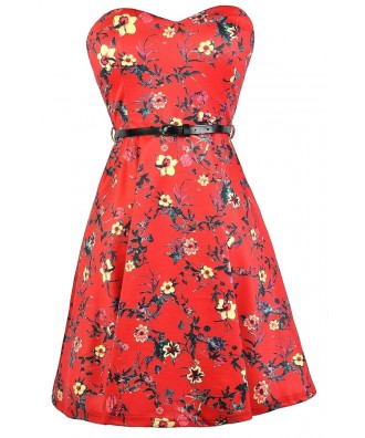 Cute Red Dress, Red Floral Print Dress, Red Printed Sundress, Cute Summer Dress, Red Floral Print A-Line Dress, Belted Floral Print Dress