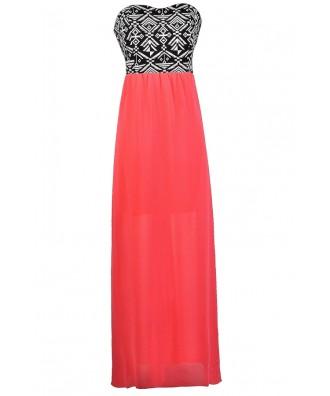 Hot Pink and Black Maxi Dress, Geometric Pink and Black Maxi Dress, Neon Pink and Black Dress, Geometric Pattern Maxi Dress, Aztec Maxi Dress, Neon Pink Summer Dress, Hot Pink Summer Dress