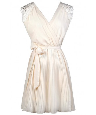 Cute Summer Dress, Off White Dress, Ivory Dress, Off White Pleated A-Line Dress, Ivory Pleated A-Line Dress, Lace Shoulder Dress, Off White Rehearsal Dinner Dress, Ivory Rehearsal Dinner Dress, Off White Summer Dress, Ivory Summer Dress, Cute Party Dress