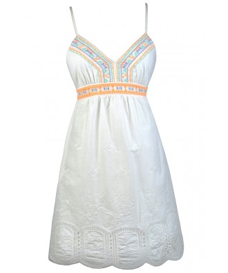 White Sundress, Cute White Dress, White Embroidered Dress, White Babydoll Dress, Little White Dress, Cute Summer Dress