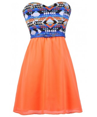 Neon Orange and Blue Dress, Blue and Orange Sundress, Neon Orange Dress, Southwestern Print Sundress, Cute Belted Dress, Orange and Blue A-Line Dress, Neon Summer Dress, Neon Orange Southwestern Print Dress