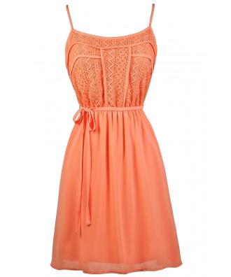 Cute Summer Dress, Orange Coral Lace Dress, Cute Lace Dress, Cute Summer Dress, Cute Sundress, Orange Coral Sundress, Orange Coral Party Dress