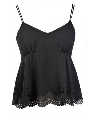 Cute Black Top, Black Flutter Top, Black Eyelet Top, Black Crop Top, Black Summer Top, Sexy Black Top
