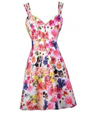 Floral Print Sundress, Floral Print Summer Dress, Cute Floral Print Dress, Pink Floral Print Dress, Floral Print A-Line Dress, Floral Print Party Dress