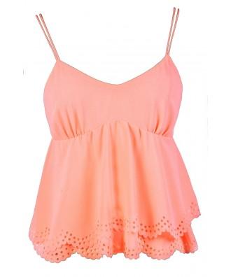 Cute Peach Top, Peach Summer Top, Neon Peach Top, Coral Peach Top, Bright Peach Top, Peach Eyelet Top, Peach Crop Top