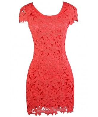 Cute Coral Dress, Coral Lace Dress, Coral Capsleeve Lace Dress, Coral Lace Party Dress, Coral Summer Dress