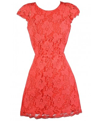 Coral Lace Dress, Coral Open Back Lace Dress, Coral Lace Cocktail Dress, Coral Lace Party Dress, Coral Lace Sheath Dress, Coral Lace Summer Dress, Cute Summer Dress