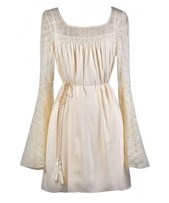 Beige Lace Boho Dress, Beige Lace Hippie Dress, Beige Bell Sleeve Dress, Cute Hippie Dress, Cute Festival Dress, Lace Festival Dress, Lace Boho Dress, Beige Longsleeve Lace Dress, Cute Summer Dress, Cute Beige Dress