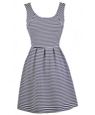 Navy Stripe Dress, Navy and Ivory Stripe Dress, Cute Navy Dress, Navy Nautical Stripe Dress, Navy Stripe Party Dress, Navy and White Stripe A-Line Dress, Navy Stripe Summer Dress, Cute Summer Dress