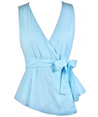 Cute Summer Top, Sky Blue Top, Light Blue Top, Sky Blue Wrap Top, Cute Wrap Top, Light Blue Wrap Top