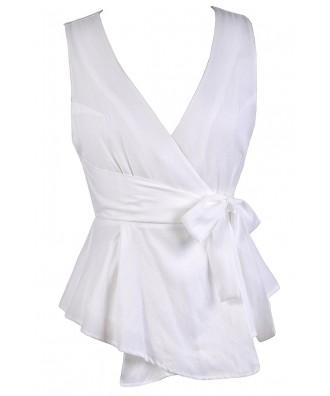 White Summer Top, White Wrap Top, Cute Wrap Top, Cute White Top, White Sleeveless Top