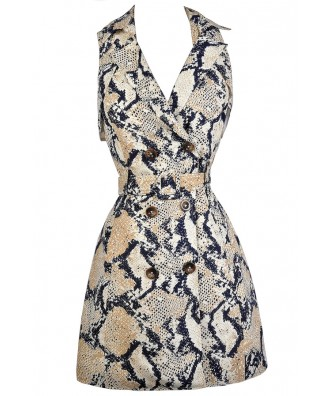 Python Print Dress, Snakeskin Print Dress, Navy and Beige Snake Print Dress, Snakeskin Trench Coat Dress, Navy and Beige Snake Print Dress, Navy and Beige Python Dress, Cute Animal Print Dress