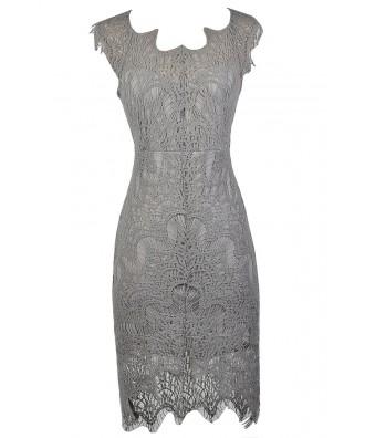 Cute Grey Dress, Grey lace Dress, Grey Lace high Low Dress, Grey Lace Sheath Dress, Grey Lace Pencil Dress, Grey Lace Cocktail Dress, Grey Lace Party Dress