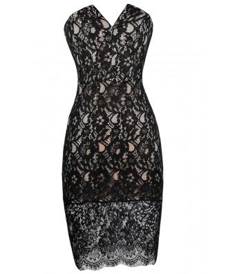 Black Strapless lace Dress, Black and Beige Lace Dress, Little Black Dress, Cute lace Dress, Black Lace Party Dress, Black Lace Cocktail Dress, Black V Cut Dress