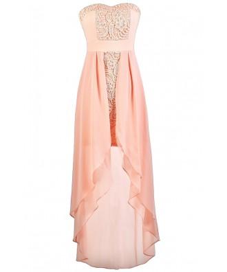 Cute Pink Dress, Pale Pink Dress, Pink Lace Dress, Pink High Low Dress, Pink Party Dress