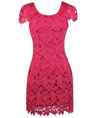 Hot Pink Capsleeve Lace Dress, Bright Pink Lace Pencil Dress, Hot Pink Lace Party Dress, Cute Fuchsia Lace Dress