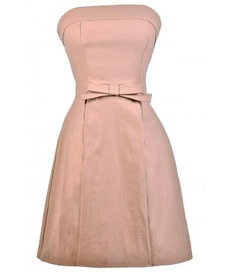 Cute Pink Dress, Pink Party Dress, Pink Strapless Dress, Pink Bow Dress, Cute Pink Dress, Pink Bridesmaid Dress