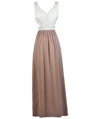 Pink and Ivory Maxi Dress, Blush and Ivory Maxi Dress, Cute Maxi Dress