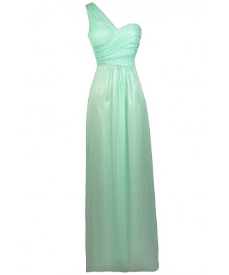Mint Maxi Dress, Mint One Shoulder Prom Dress, Mint Maxi Bridesmaid Dress, Mint Chiffon Dress