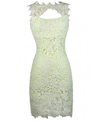 Cute Lace Dress, Lime Green Lace Pencil Dress, Cute Summer Dress, Bright Green Lace Dress