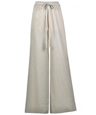 Beige Wide Leg Pants, Beige Pinstripe Linen Palazzo Pants, Swimwear Coverup Pants, Cute Summer Pants, Linen Wide Leg Pants