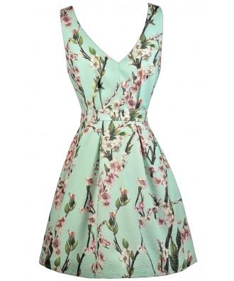 Printed Mint Dress, Mint A-Line Dress, Cherry Blossom Print Mint Dress, Cute Summer Dress, Printed Sundress