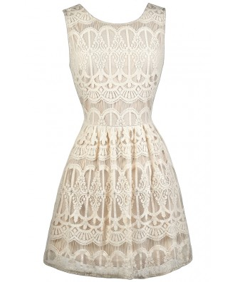 Cute Beige Dress, Beige Lace Dress, Beige Lace A-Line Dress, Beige Lace Sundress, Cute Summer Dress