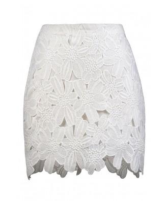 White Crochet Lace Mini Skirt, Cute Summer Skirt, White Lace Skirt