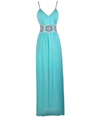 Aqua Maxi Dress, Cute Maxi Dress, Summer Maxi Dress, Boho Maxi Dress