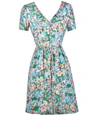 Hawaiian Print Dress, Tropical Print Dress, Cute Summer Dress, Luau Dress