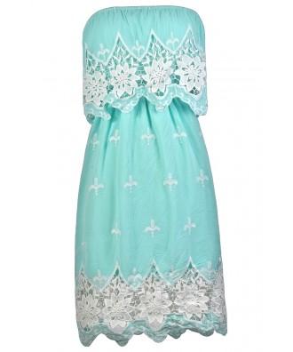 Sky Blue Sundress, Blue and Ivory Crochet Dress, Pale Blue Summer Dress, Embroidered Sundress