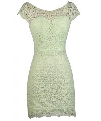 Lime Green Lace Sheath Dress, Green Crochet Lace Sheath Dress, Cute Lace Dress, Lace Summer Dress