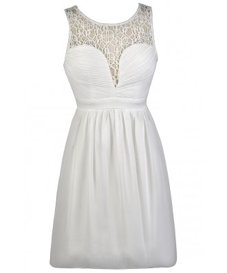 Cute White Dress, White Sundress, White A-Line Dress, White Party Dress, White Crochet Neckline Dress