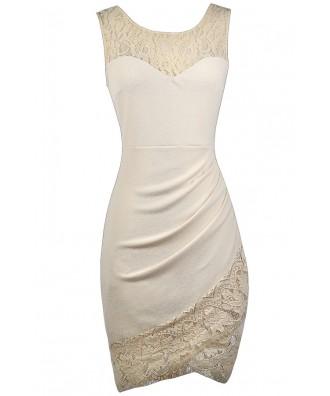 Cute Beige Dress, Beige Lace Dress, Beige Cocktail Dress, Beige Party Dress, Beige Lace Trim Dress