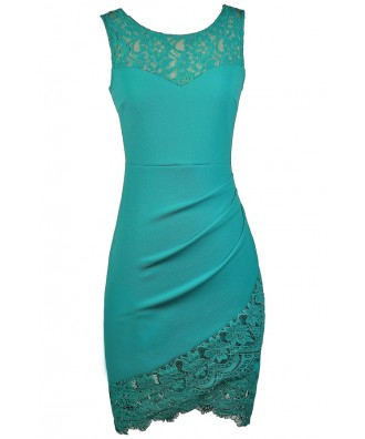 Teal Lace Dress, Cute Teal Dress, Teal Party Dress, Teal Cocktail Dress, Teal Lace Trim Dress, Turquoise Lace Dress