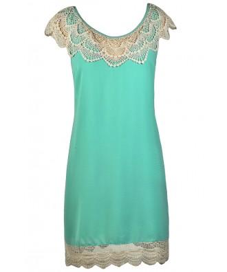 Beige and Aqua Crochet Lace Dress, Aqua Swing Dress, Cute Summer Dress, Beige and Turquoise Lace Dress, Aqua Summer Dress