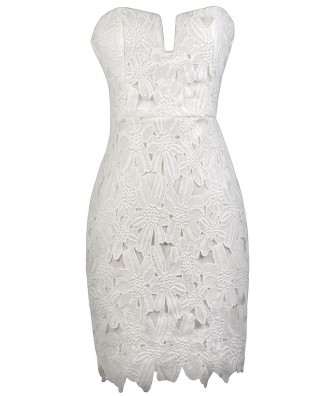 White Crochet Lace Dress, White Strapless Lace Dress, White Lace Rehearsal Dinner Dress, White Lace Bridal Shower Dress, Cute White Dress