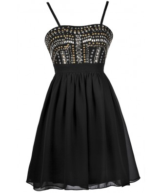 Black Stud Dress, Black Party Dress, Black Cocktail Dress, Little Black Dress
