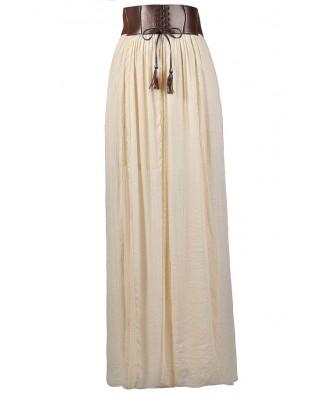 Cute Maxi Skirt, Beige Maxi Skirt, Prairie Maxi Skirt