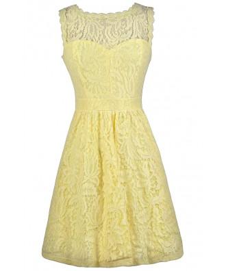 Yellow Lace Dress, Yellow Lace A-Line Dress, Yellow Lace Bridesmaid Dress, Yellow Party Dress