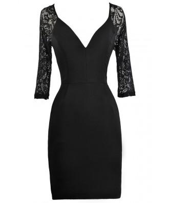Black Lace Sleeve Dress, Little Black Dress, Cute Black Dress, Black Party Dress, Black Cocktail Dress