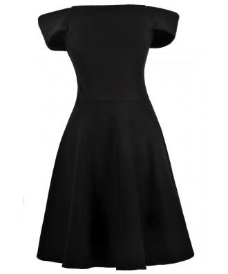 Black Cocktail Dress, Little Black Dress, Black Off Shoulder Dress, Black A-Line Dress