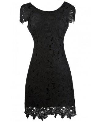 Black Lace Pencil Dress, Black Lace Cocktail Dress, Black Lace Party Dress