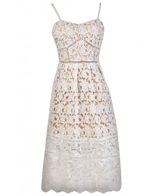 White Lace Midi Dress, White and Beige Lace A-Line Dress, White Lace Rehearsal Dinner Dress, White Lace Bridal Shower Dress