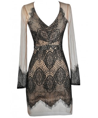 Black and Beige Mesh Lace Dress, Black Lace Fitted Dress, Lace Cocktail Dress, Lace Party Dress
