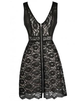 Black Lace Party Dress, Black Lace Cocktail Dress, Black Lace A-Line Dress, Cute Black Dress