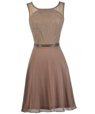Mocha Bridesmaid Dress, Mocha Lace A-Line Dress, Cute Bridesmaid Dress, Mocha Party Dress, Brown Bridesmaid Dress